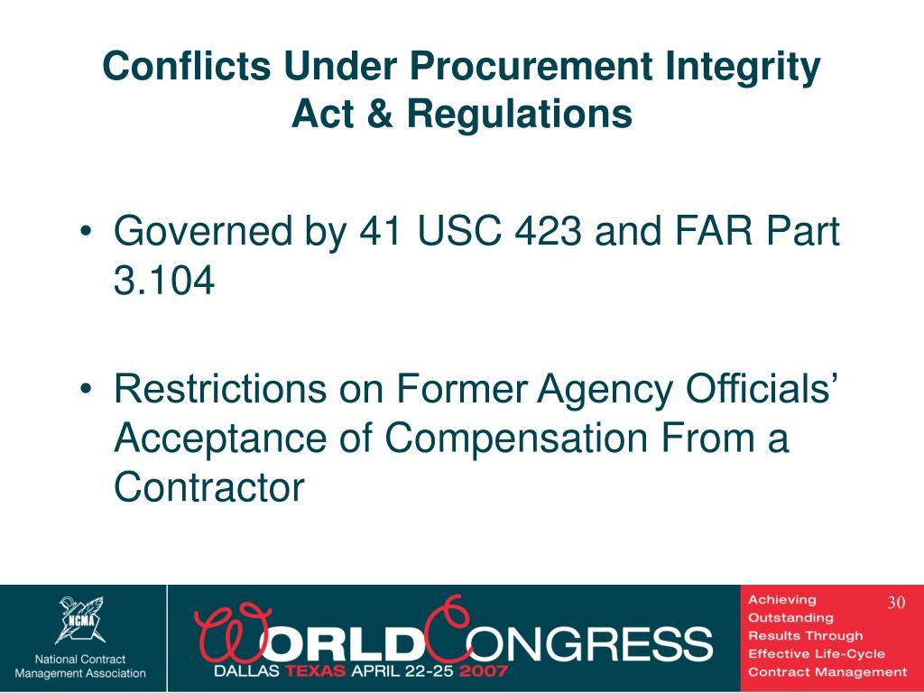 Conflicts Under Procurement Integrity Act & Regulations