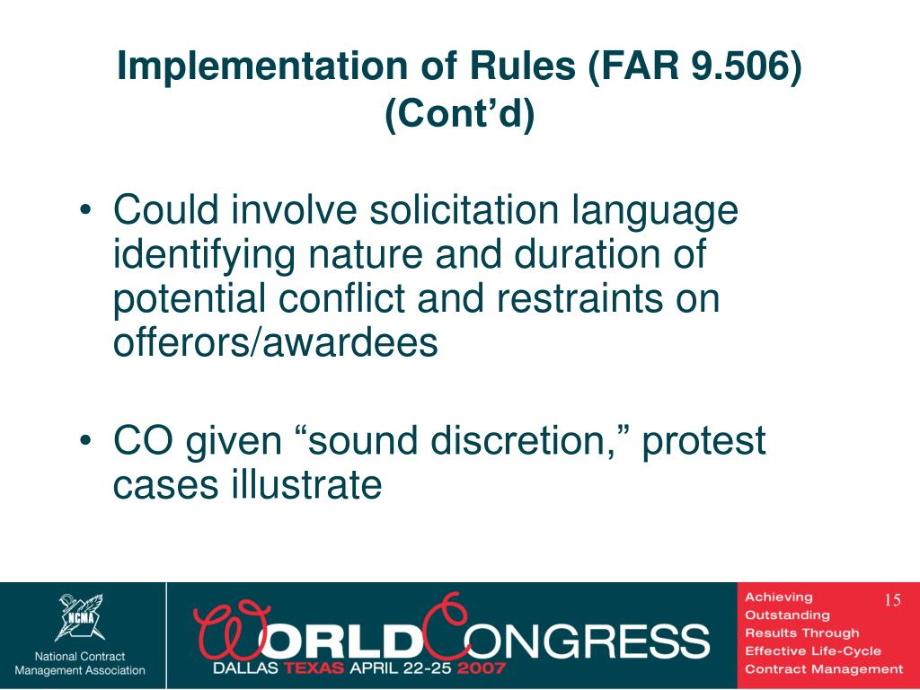 Implementation of Rules (FAR 9.506) (Cont'd)