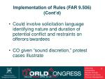 implementation of rules far 9 506 cont d