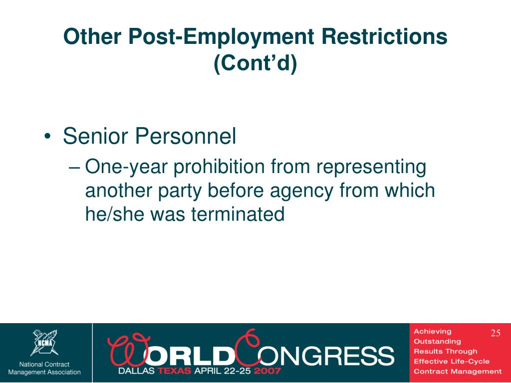 Other Post-Employment Restrictions
