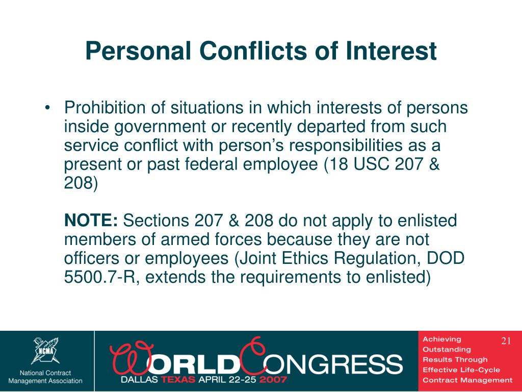 Personal Conflicts of Interest
