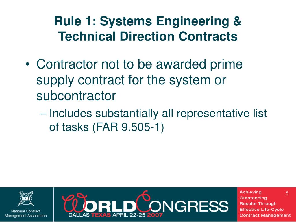 Rule 1: Systems Engineering & Technical Direction Contracts