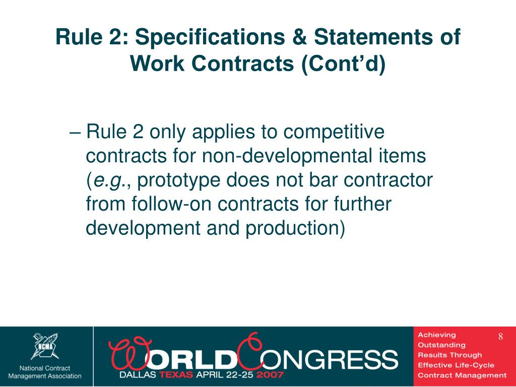 Rule 2: Specifications & Statements of Work Contracts (Cont'd)