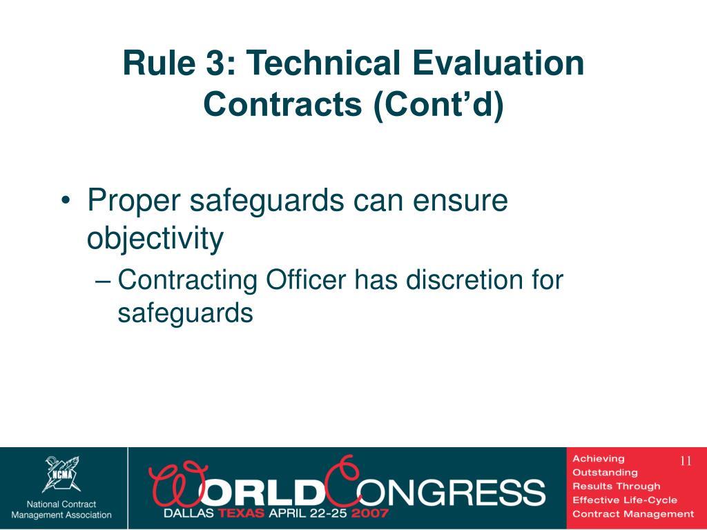 Rule 3: Technical Evaluation