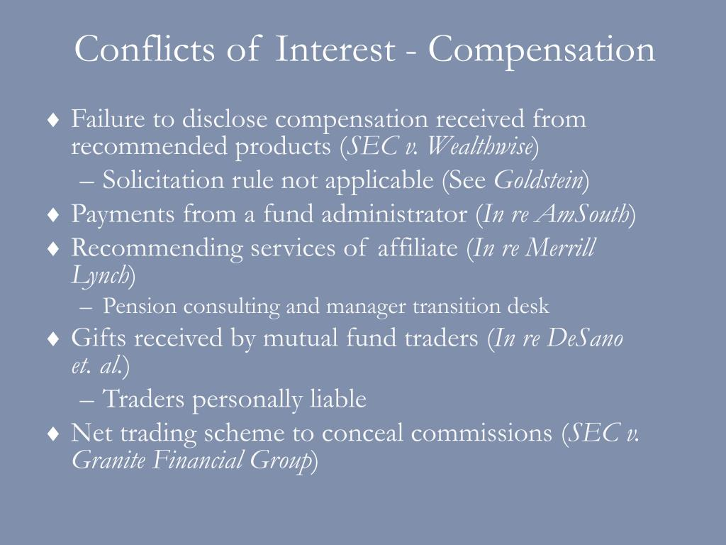Conflicts of Interest - Compensation