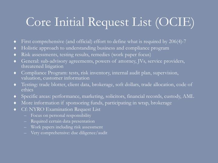 Core initial request list ocie