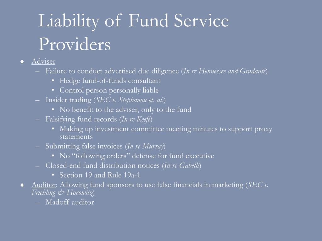 Liability of Fund Service Providers