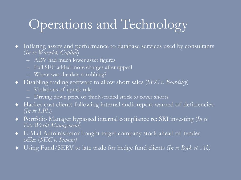 Operations and Technology