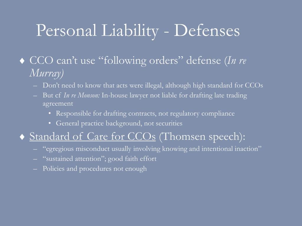 Personal Liability - Defenses
