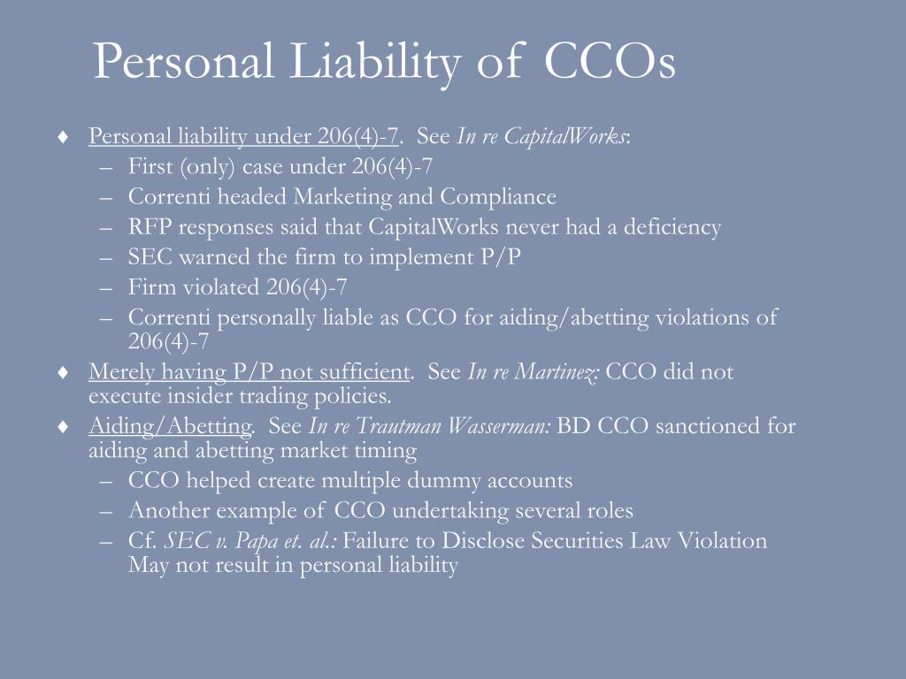 Personal Liability of CCOs