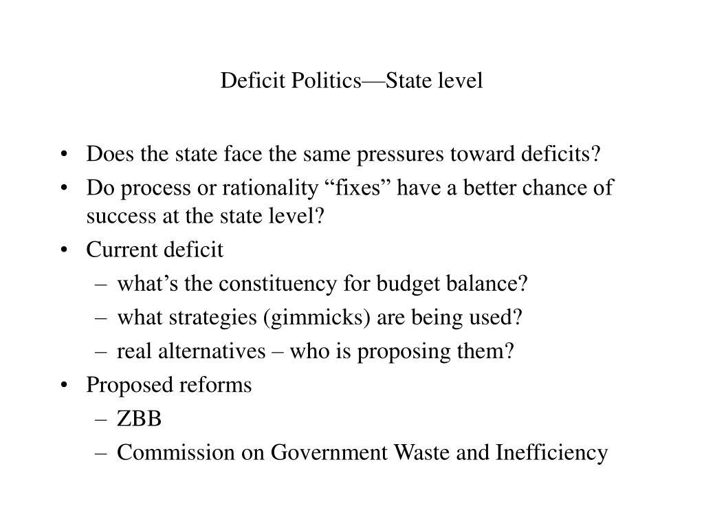 Deficit Politics—State level