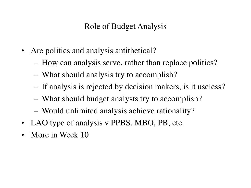 Role of Budget Analysis
