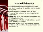 immoral behaviour