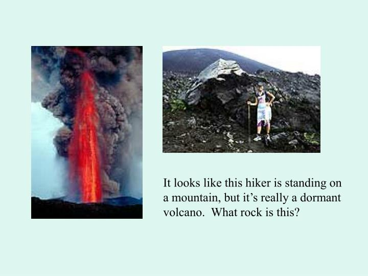 It looks like this hiker is standing on a mountain, but it's really a dormant volcano.  What rock is this?