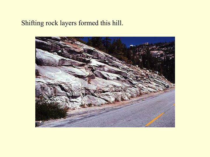 Shifting rock layers formed this hill.