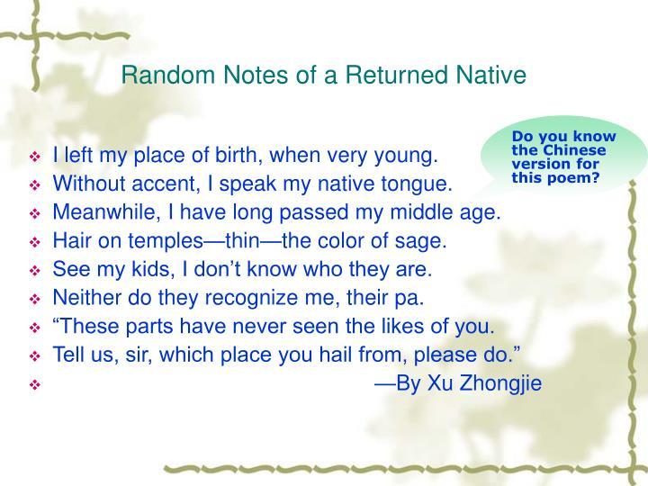 Random Notes of a Returned Native