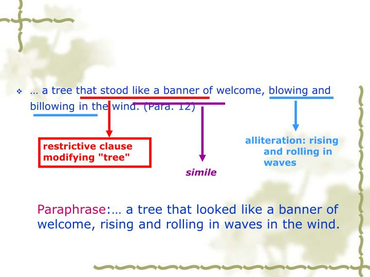… a tree that stood like a banner of welcome, blowing and billowing in the wind. (Para. 12)