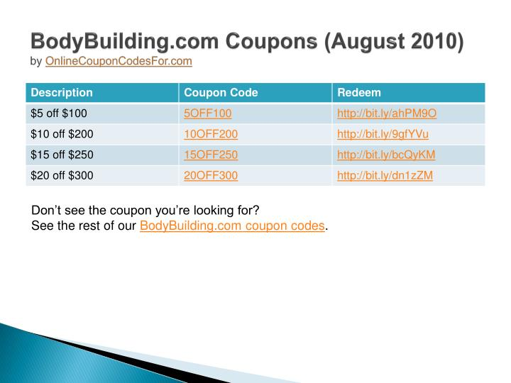 Bodybuilding com coupons august 2010 by onlinecouponcodesfor com