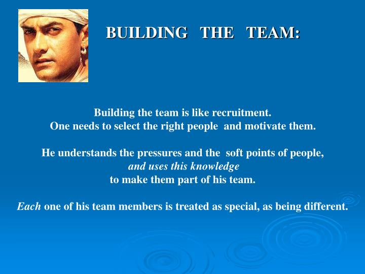BUILDING   THE   TEAM:
