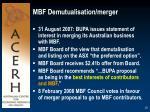 mbf demutualisation merger