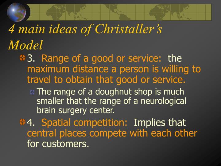 4 main ideas of Christaller's Model