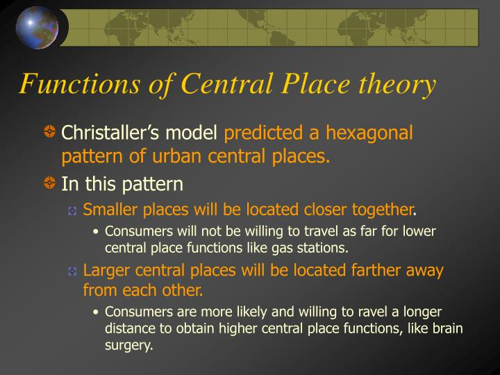 Functions of Central Place theory