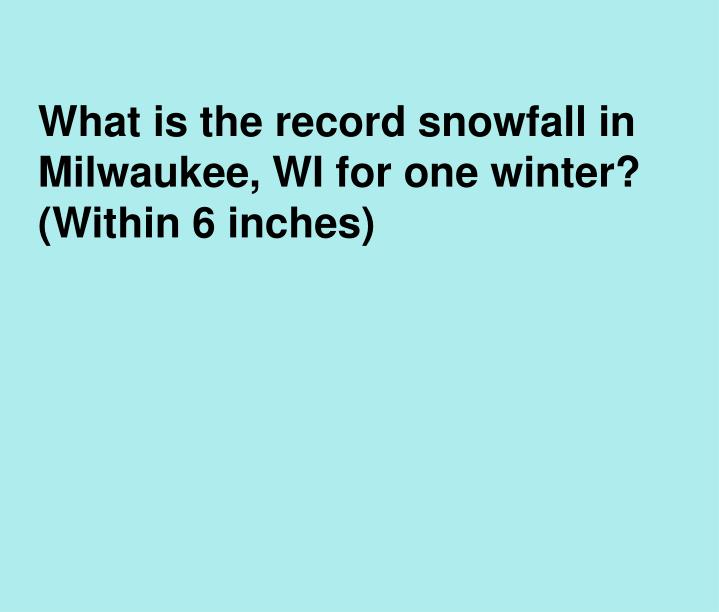 What is the record snowfall in Milwaukee, WI for one winter? (Within 6 inches)