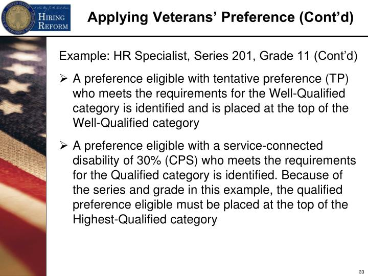 Example: HR Specialist, Series 201, Grade 11 (Cont'd)