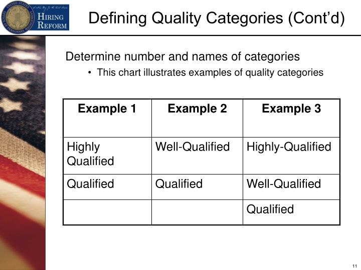 Defining Quality Categories (Cont'd)