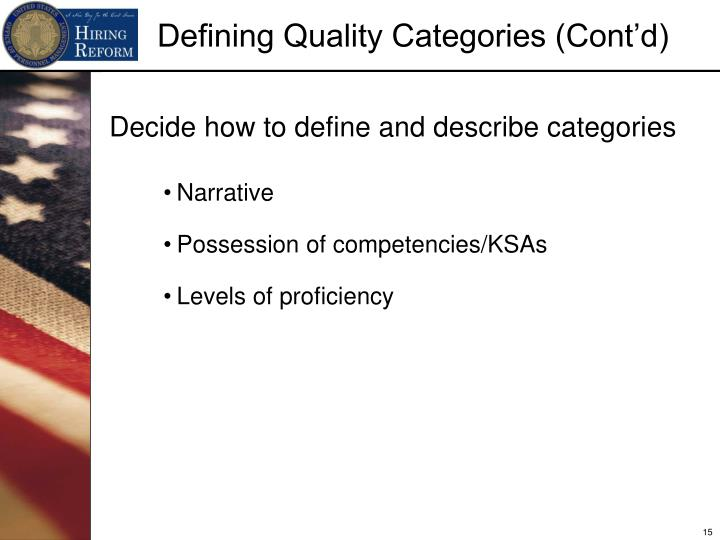 Decide how to define and describe categories