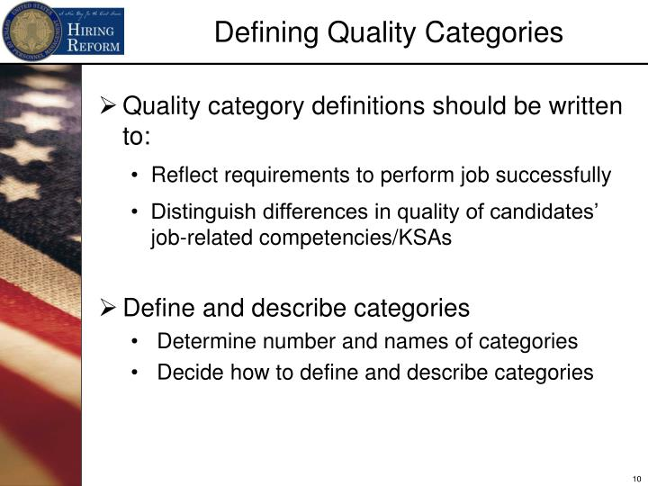 Quality category definitions should be written to: