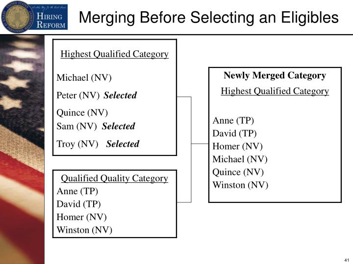 Merging Before Selecting an Eligibles