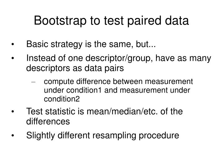 Bootstrap to test paired data