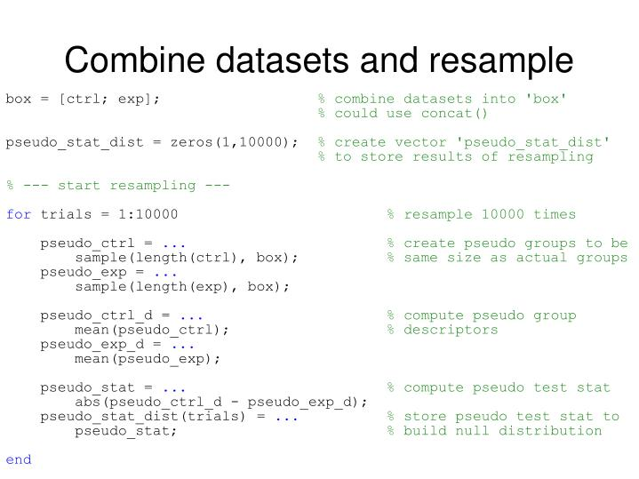 Combine datasets and resample