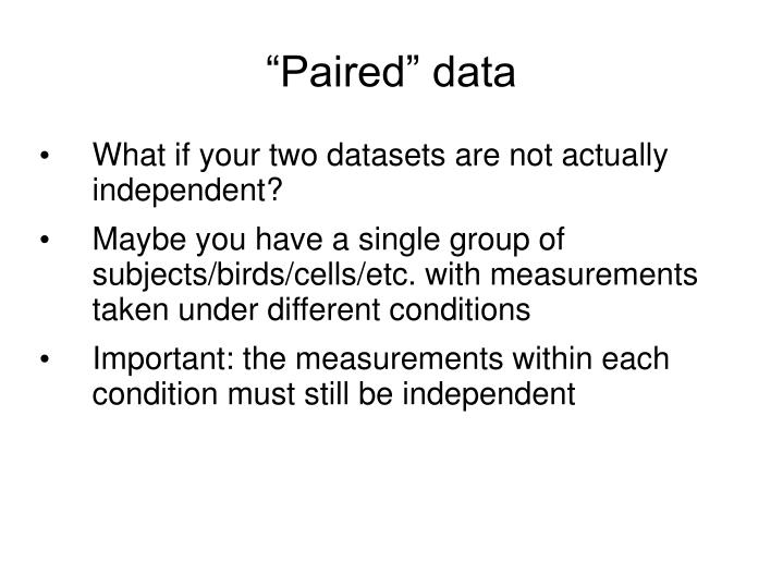 """""""Paired"""" data"""