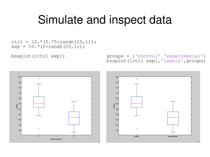 Simulate and inspect data
