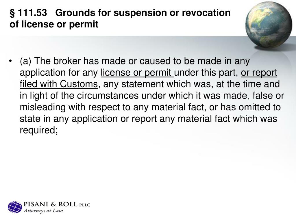§ 111.53   Grounds for suspension or revocation of license or permit