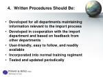 4 written procedures should be