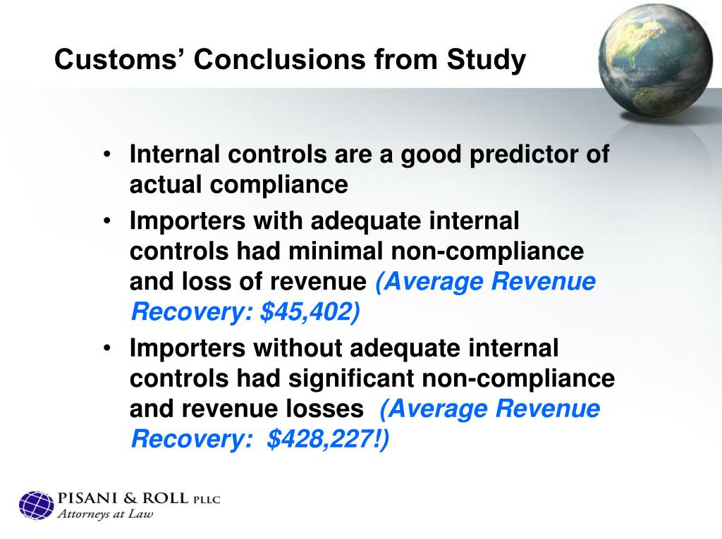 Customs' Conclusions from Study