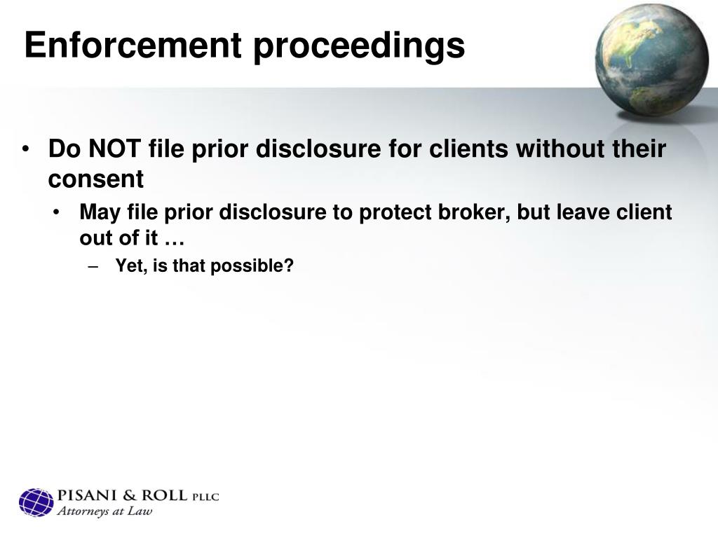 Enforcement proceedings