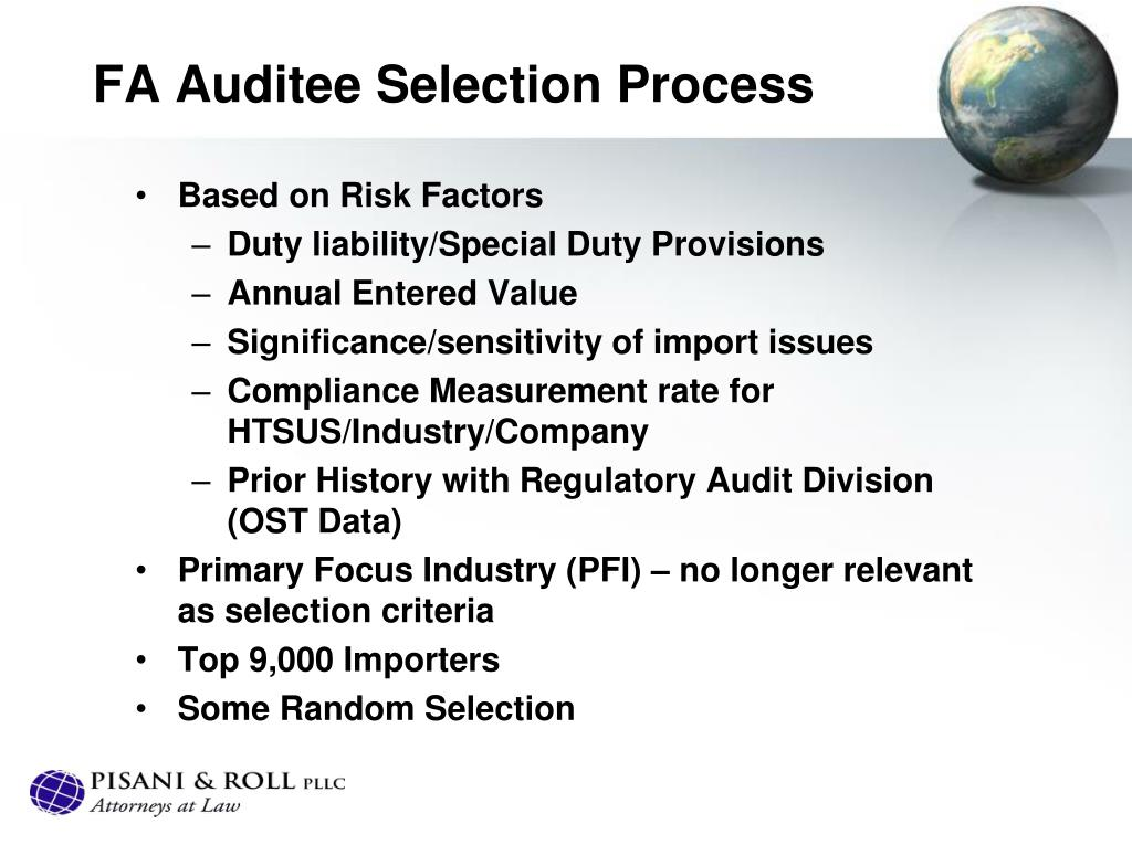 FA Auditee Selection Process
