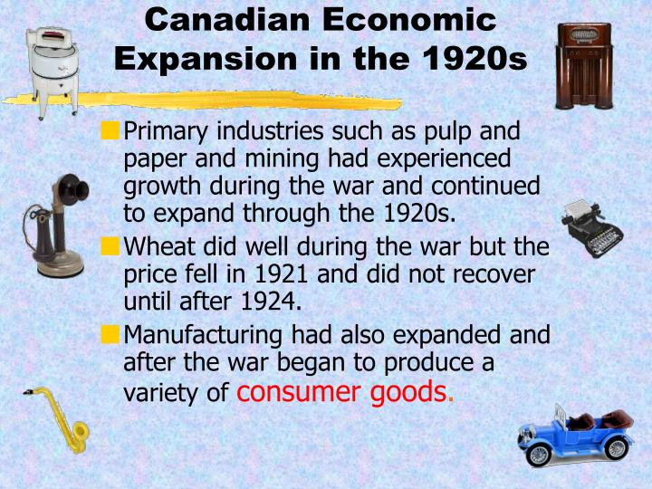 Canadian economic expansion in the 1920s