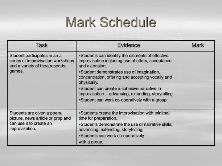 Mark Schedule