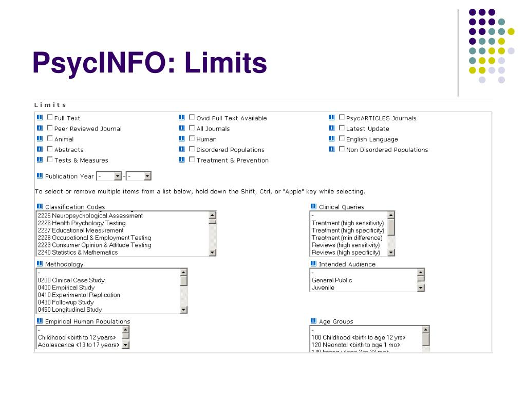 PsycINFO: Limits