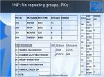 1nf no repeating groups pks