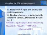 complete the sql statements cont1