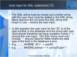 user input for sql statement 1 5