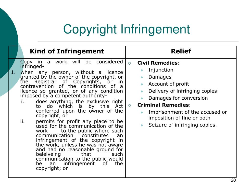 Copy in a work will be considered infringed-