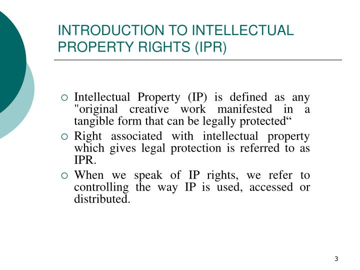 Introduction to intellectual property rights ipr