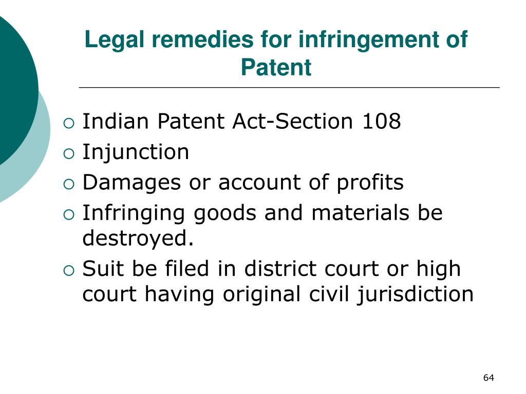 Legal remedies for infringement of Patent